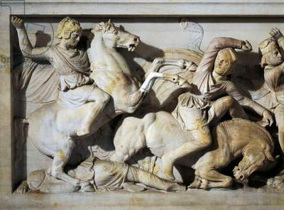 The Sarcophagus of Alexander in marble, from Sidon, Lebanon, detail showing Alexander fighting Persians,4th Century BC, Ancient Greece
