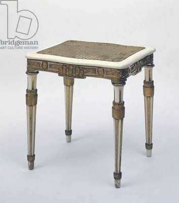 Carved and gilded stool, wicker seat, Austria, 18th century