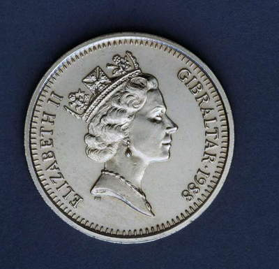 5 pounds coin, 1988, obverse, queen Elizabeth II Windsor (1926-), Gibraltar, 20th century