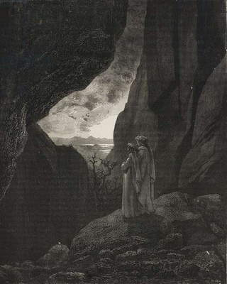 Dante and Virgil emerging from Hell, engraving by Gustave Dore (1832-1883), Canto XXXIV