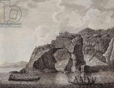 Te Puta-o-Paretauhinu or Sporing's Grotto at Mercury Bay, engraving. New Zealand, 18th century.