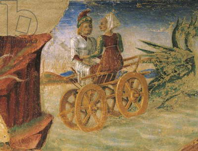 Rape of Proserpina, detail from Triumph of Ceres, scene from Month of August, attributed to Cosimo Tura (circa 1430-1495) and Master of Ercole, fresco, north wall, Hall of Months, Palazzo Schifanoia (Palace of Joy), Ferrara, Italy, circa 1470