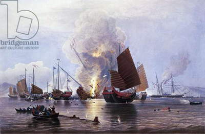 British ships destroying an enemy fleet in Canton, 1841. First Opium War, China, 19th century.