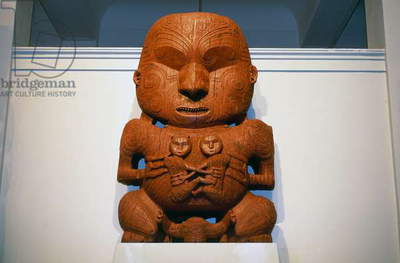 Pukaki, wooden Maori carving, circa 1880, Auckland, New Zealand