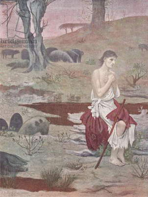 Prodigal son, 1879, by Pierre Puvis de Chavannes, illustration from Figaro illustre, Year XVII, No 107, February, 1899