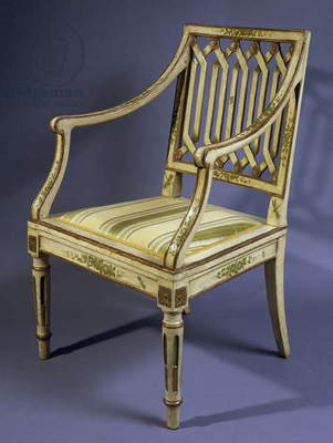 Lacquered and gilded Lombard armchair, circa 1780, Italy, 18th century