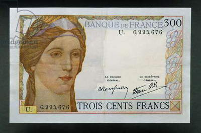 300 francs banknote, 1938, Obverse, Ceres, France, 20th century