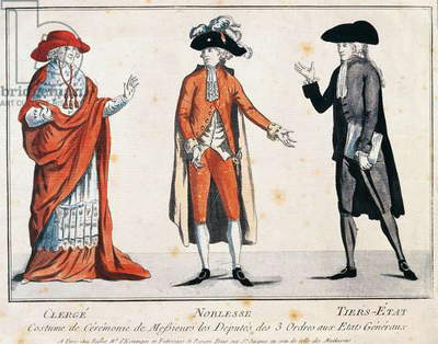 Clothing worn by three orders of Estates-General: clergy, nobility and common people, 1789, French Revolution France, 18th century