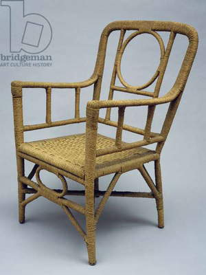 Armchair upholstered with braided rope, 1920-1930. Italy, 20th century
