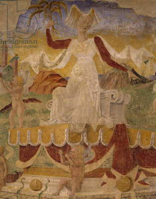 Triumph of Ceres, scene from Month of August, attributed to Cosimo Tura (circa 1430-1495) and Master of Ercole, fresco, north wall, Hall of Months, Palazzo Schifanoia (Palace of Joy), Ferrara, Detail, Italy, circa 1470