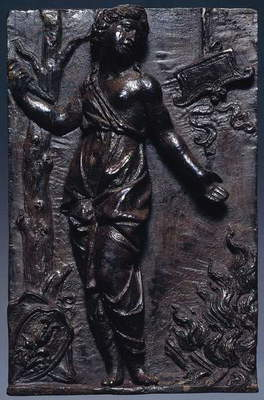 Dido, by Giovanni Maria Mosca (1493-ca 1573), natural dark brown patinated bronze plaque, and traces of black lacquer and incrustations, 15 x 10 cm, Italy, 1525-1535