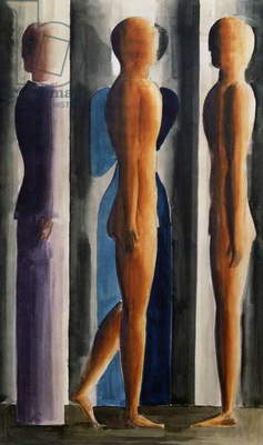 Formation. Tri-partition, 1929, by Oskar Schlemmer (1888-1949), watercolour and pencil on paper, 56x35 cm. Germany, 20th century.