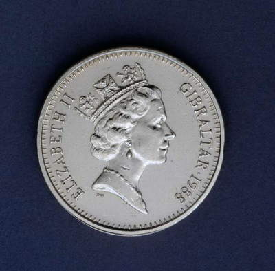 1 pound coin, 1988, obverse, queen Elizabeth II Windsor (1926-), Gibraltar, 20th century