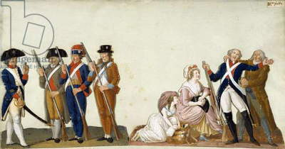 Volunteers doing drills during French Revolution, gouache by Jean-Baptiste Lesueur (1749-1826), France, 18th century