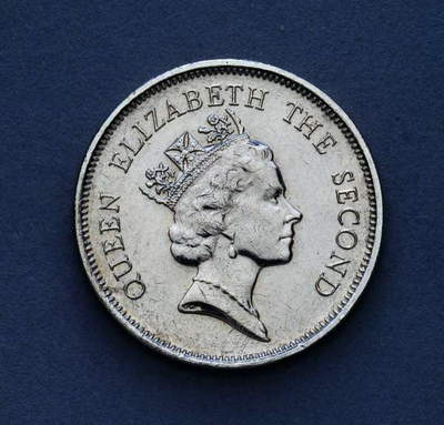 1 dollar coin, 1991, obverse, portrait of queen Elizabeth II (1926-), Hong Kong, 20th century