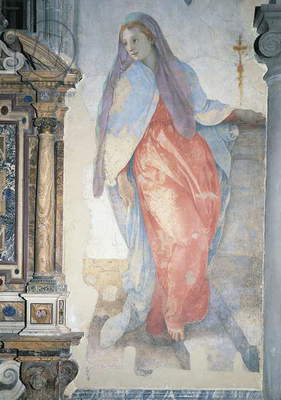 Italy, Florence, Church of Santa Felicita, Capponi Chapel, Annunciation, by Giacomo Carucci known as Pontormo (1494-1557), fresco, Detail