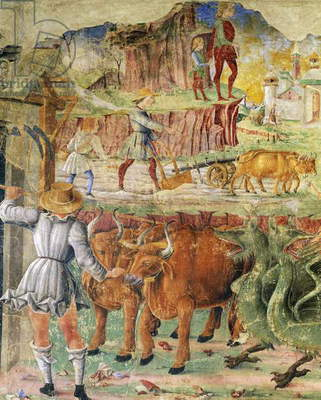 Agricultural picture, detail from Triumph of Ceres, scene from Month of August, ca 1470, attributed to Cosimo Tura, and Master of Ercole, fresco, north wall, Hall of the Months, Palazzo Schifanoia (Palace of Joy), Ferrara, Emilia-Romagna. Italy