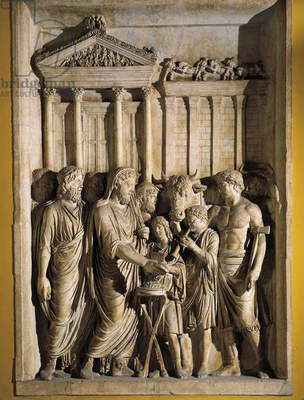 Relief representing Marcus Aurelius sacrificing before temple of Jupiter on Capitol, 176-180 A.D.