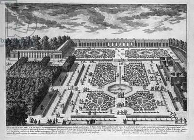 Le Chateau de Trianon, Gardens of Petit Trianon at royal Palace of Versailles, 1685, engraving from Vues des Belles Maisons de France (Views of Beautiful Houses of France), by Nicolas Perelle (1631-ca 1695)