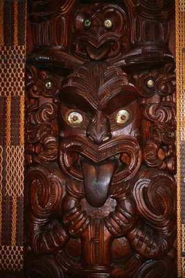 Wooden anthropomorphic sculpture, Maori Meeting House, Ohinemutu village, Waitangi, Bay of Islands, New Zealand