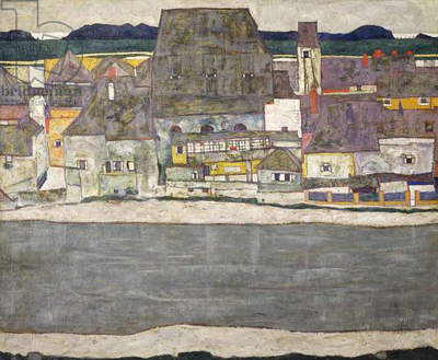 Houses on river (The old town), 1914 (oil on canvas)