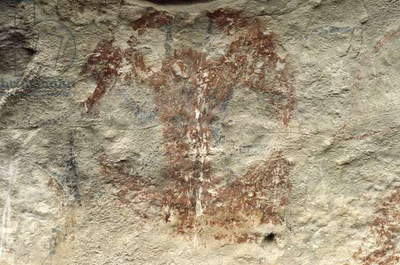 New Zealand, Canterbury, Duntroon, Maori rock paintings
