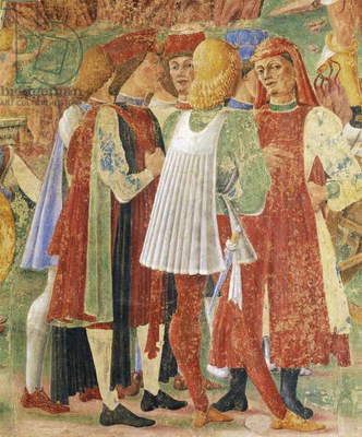 Group of merchants, detail from Triumph of Ceres, scene from Month of August, attributed to Cosimo Tura (circa 1430-1495) and Master of Ercole, fresco, north wall, Hall of Months, Palazzo Schifanoia (Palace of Joy), Ferrara, Italy, circa 1470