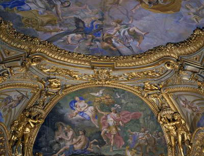 Vault frescoes by Lorenzo De Ferrari (1680-1744) in Gilded Gallery, Palazzo Carrega-Cataldi, Genoa, Italy, 16th-18th centuries