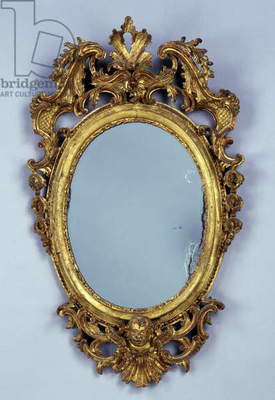 Mirror, carved and gilded wood, Italy, 18th century