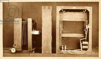 Camera and back of electro-shutter used by Eadweard Muybridge to shoot his 'Animal Locomotion' series, c.1881 (b/w photo)