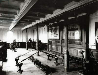 The onboard gym on the Titanic showing the rowing machines and exercise bikes, 1912 (b/w photo)