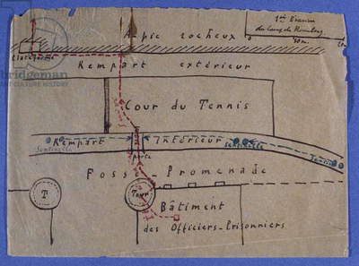 Map of Captain Charles de Gaulle's first escape from the Rosenberg Fort, July 1917 (pencil on paper)
