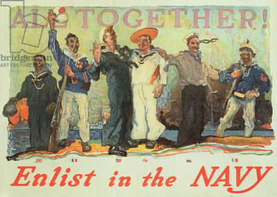 'All Together Enlist in the Navy', World War One recruitment poster (colour litho)