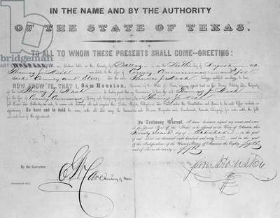 Deed signed by Sam Houston (1793-1863) 1860 (litho) (b/w photo)