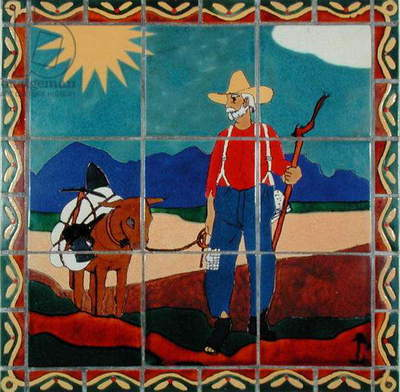West Texas room tiles depicting a Prospector with a Pack Mule (ceramic)