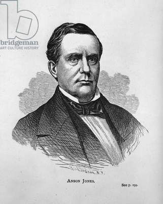Anson Jones, from 'Texas History Scrapbook' (engraving) (b/w photo)