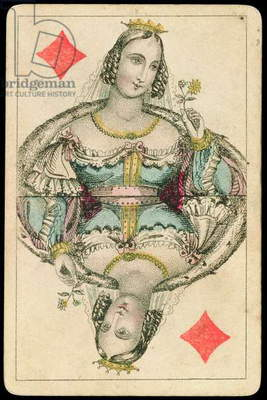Playing card: Queen of Diamonds (colour litho)