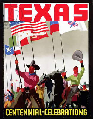 Poster advertising the Texas Centennial Celebrations, 1936 (colour litho)