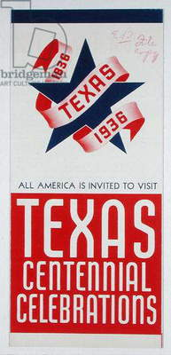 Cover for Texas Centennial Brochure, 1936 (colour litho)