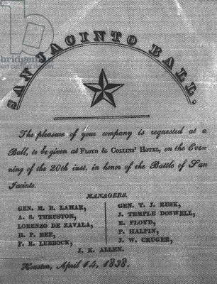 Invitation to the San Jacinto Ball, 1838 (engraving) (b/w photo)
