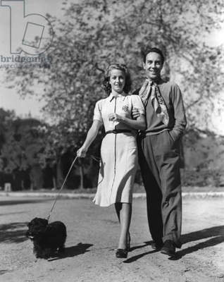 Danielle Darrieux and her husband Henri Decoin (Bel-Air, California). Danielle Darrieux, 1938 CALIFORNIA USA (b/w photo)