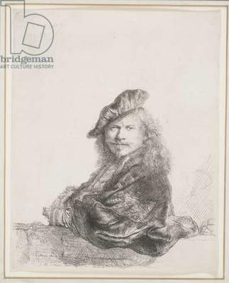 Rembrandt Leaning on a Stone Sill: Half Length, 1639 (etching)