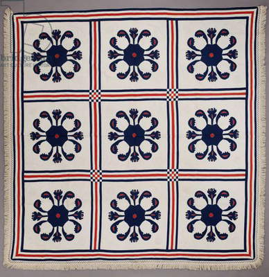 Appliqué quilt, c.1840-60 (cotton)