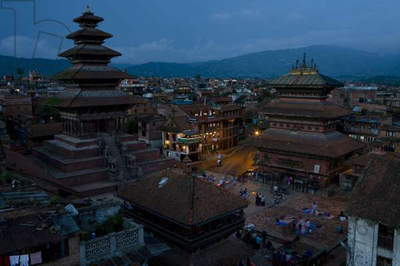 Bhaktapur, Nepal, View of the City At Dusk (photo)