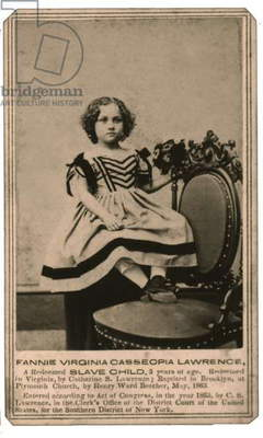 African-American, Slavery, Redeemed slave child Fannie Virginia Casseopia Lawrence 1863