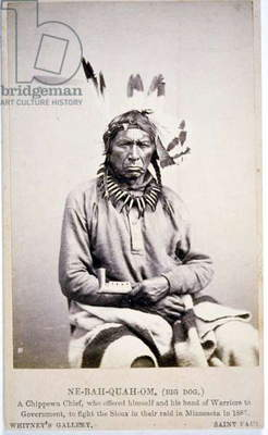 NE-BAH-QUAH-OM,Big Dog, Chippewa Chief, offered to fight Sioux in Minnesota, 1862 (b/w photo)