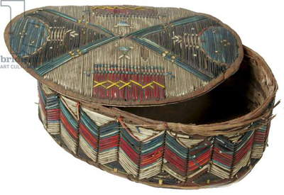 Quilled birch bark container, Micmac or Maliseet, circa 1800