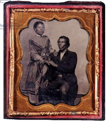 African -American man and wife or daughter about 1860s