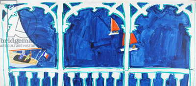 The Regatta from the balcony, c.1989 (acrylic on paper mounted on board)