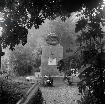 Tomb of Karl Marx, Highgate Cemetery, Hampstead, London, 1987 (b/w photo)